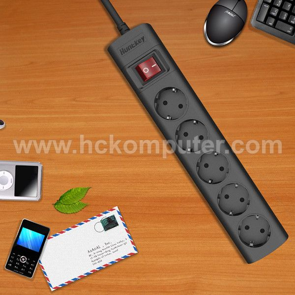Huntkey SGA501 5 Sockets Power Strip Black